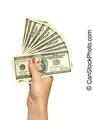 kéz, lány, dollárok