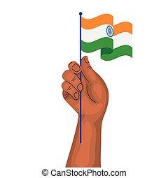 kéz, lobogó, nemzeti, háttér, india lobogó, fehér