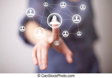 kéz, média, nyomás, ikon, társadalmi