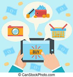 kéz, megvásárol, internet ügy, gyártás