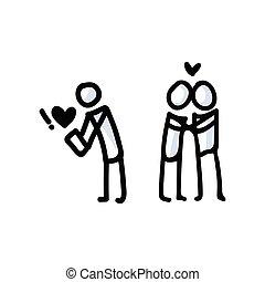 kéz, párosít., ikon, románc, egyszerű, vektor, app, eredő, alak, bot, fogalom, húzott, pictogram., bujo, nap, valentines, romantikus, motívum, szív, relationship., illustration., 10., eps, szeret, évforduló