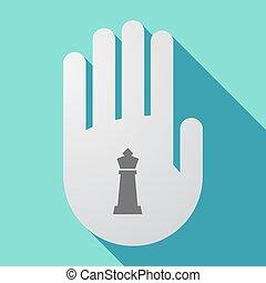 kéz, sakkjáték, alak, hosszú, árnyék, király