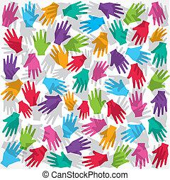 kéz, színes, backgroundman, faj