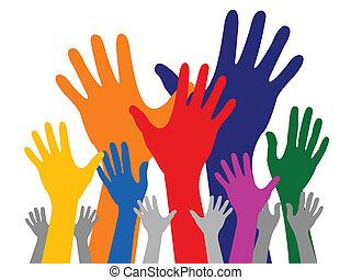 kéz, színes