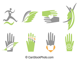 kéz, szív, human., vektor, ikonok