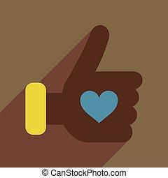 kéz, szív, ikon, háló, hosszú, árnyék, lakás