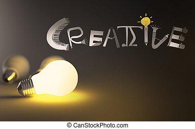 kéz, szó, 3, húzott, gumó, kreatív, fény, graphic tervezés, fogalom
