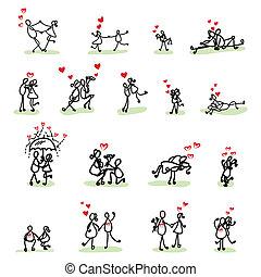kéz, szeret, karikatúra, rajz