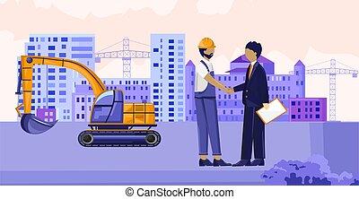 kéz, szerkesztés, remegő, munkás, szállító