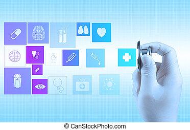 kéz, sztetoszkóp, orvosi