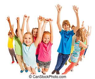 kézbesít, áll, életkor, együtt, emelt, gyerekek, izbogis