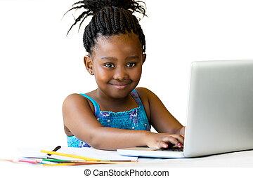 kézbesít, ülés, ifjú, afrikai, keyboard.