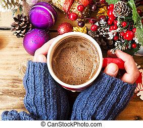 kézbesít, birtok, csokoládé, csésze, meleg