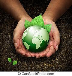 kézbesít, birtok, földdel feltölt, zöld, emberi