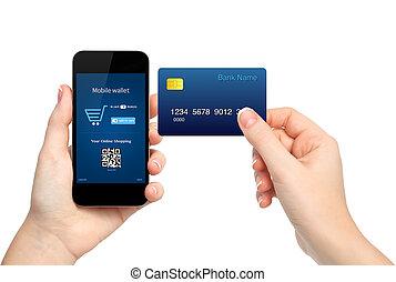 kézbesít, birtok, hitel, gyártás, kártya, megvásárol, női, telefon, onlain