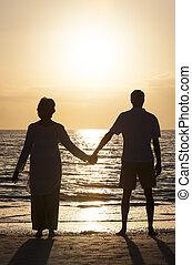 kézbesít, birtok, párosít, tengerpart, napnyugta, tropikus, idősebb ember
