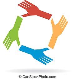 kézbesít, együttműködés, circle., csapatmunka, befog, fogalom