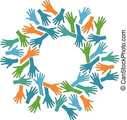 kézbesít, közösség, circle., csapatmunka, fogalom