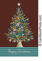 kézbesít, karácsony, változatosság, fa