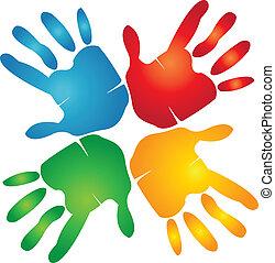 kézbesít, színes, csapatmunka, jel, mindenfelé