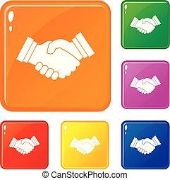 kézfogás, állhatatos, ügy icons, szín, vektor