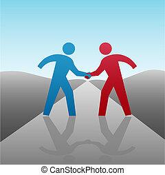 kézfogás, ügy emberek, együtt, előrehalad, partner