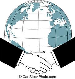 kézfogás, ügy, globális, egyezmény, kereskedelem, nemzetek, ikon