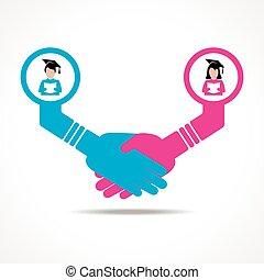 kézfogás, művelt, között, emberek