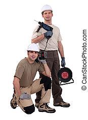 kézművesek, fúr, két, dolgozó