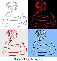 kígyó, állhatatos, kobra