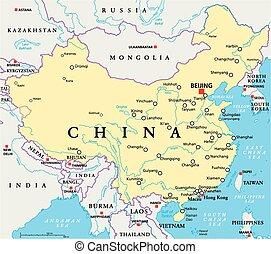 kína, politikai, térkép