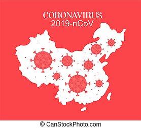 kína, térkép, vírus, tervezés, vektor, 2019, ncov