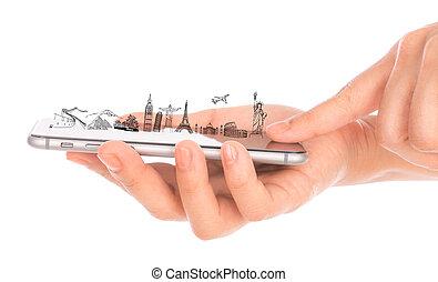 kína, utazás, olaszország, london, világ, brazil), egyiptom, birtok, franciaország, mindenfelé, india, kéz, york, smartphone, telefon, mozgatható, arany, női, (japan,