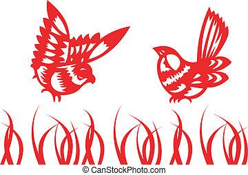 kínai, -, hagyományos, éneklés, madarak, papercut