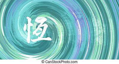 kínai, jelkép, kitartás