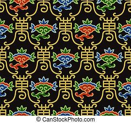 kínai, motívum, seamless, hosszú élet