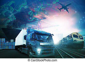 kíséret, világ, rakomány, levegő szállítás, minden, hajó, munkaszervezési, import, háttér, téma, iparágak, rakomány, alkalmaz, csereüzlet, export, kereskedés