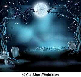 kísérteties, halloween táj, háttér