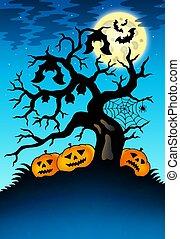 kísérteties, sütőtök, fa, üt