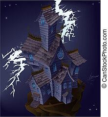 kísértetjárta, ábra, épület