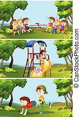 kívül, állhatatos, gyermekek játék