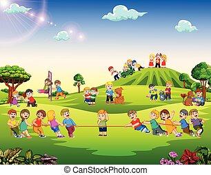 kívül, boldog, játék, gyerekek