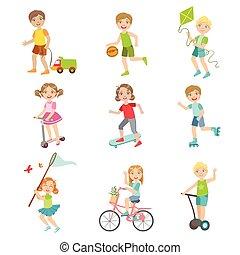 kívül, gyerekek, állhatatos, játék