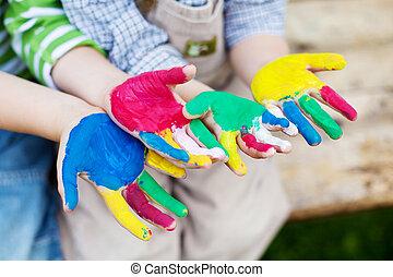 kívül, játék, gyerekek, színes, kézbesít