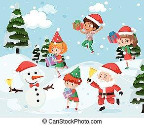 kívül, játék, hó, gyerekek