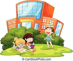 kívül, játék, iskolások