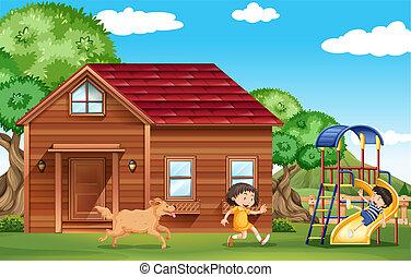 kívül, játék, kutya, gyerekek