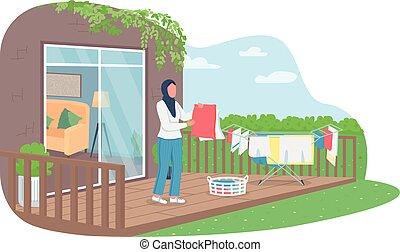 kívül, nő, mosoda, száradó, transzparens, vektor, poszter, háló, muzulmán, 2