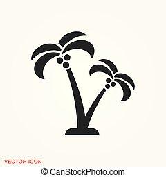 kókuszdió, jelkép, bitófák, aláír, vektor, tervezés, ikon
