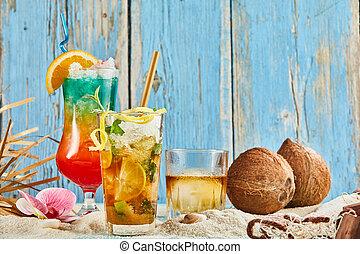 kókuszdió, koktél, whisky, tropikus